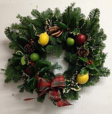 Deluxe Christmas Holly Wreath - Real Fruit: Booker Flowers and Gifts