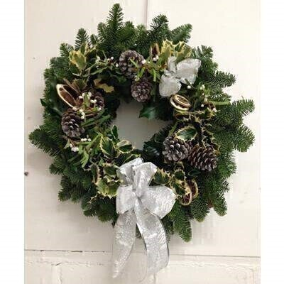 Deluxe Christmas Holly Wreath - White Bow: Booker Flowers and Gifts