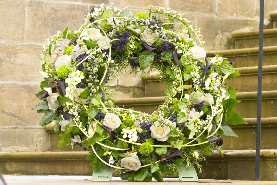 Deluxe White Standing Wreath Extra Large: Booker Flowers and Gifts