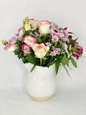 Pink Flowers in Ceramic Jug