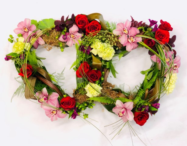 Double Heart-Shaped Design | Funeral Flowers
