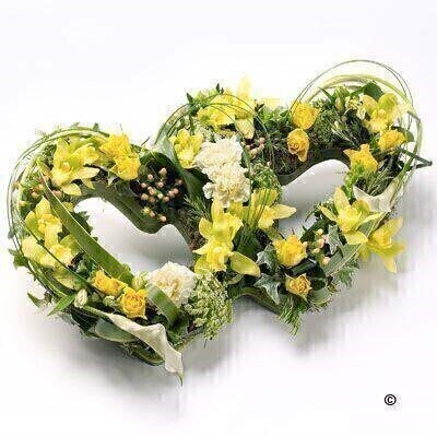 Double Heart-Shaped Design in Yellow | Funeral Flowers