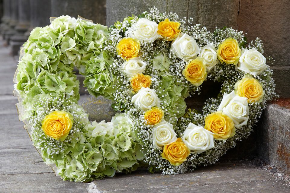 Double Heart-Shaped Design in Yellow Green and White | Funeral Flowers