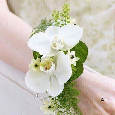 Double White Orchid Wrist Corsage: Booker Flowers and Gifts