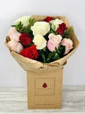 Dozen Roses in Red White and Pink - Hand Delivered