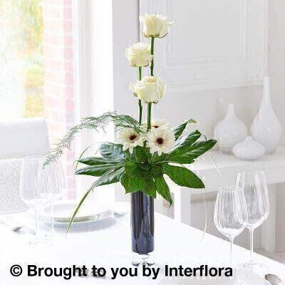 Elegant White Rose and Germini Vase : Booker Flowers and Gifts