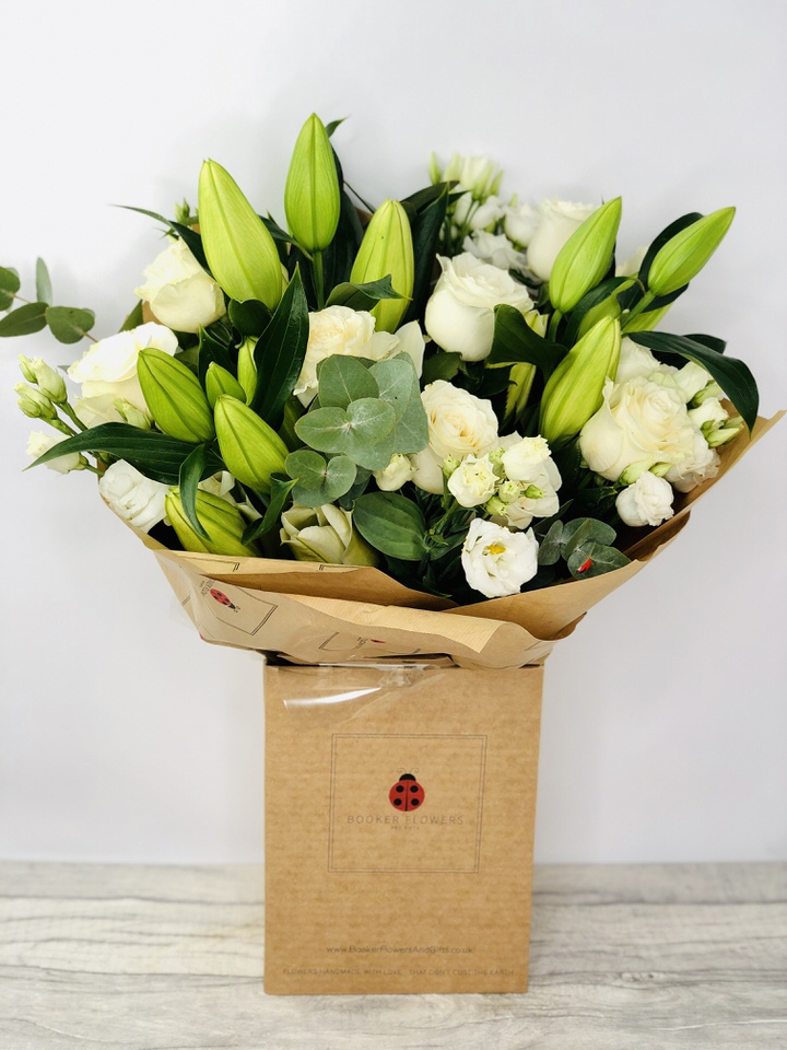 Elegant White Sympathy Hand Tied Extra Large: Booker Flowers and Gifts