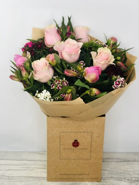 Peony and Rose Bouquet of Flowers - Hand DeliveredHand arranged by our florists into a beautiful hand-tied bouquetTo give you the best occasionally we may make substitutesOur flowers backed by our 7 days freshness guaranteeApproximate dimensions 40cmx36cmThis product is available for UK deliveryThese beautiful seasonal flowers hand arranged by our professional florists into a handtied bouquet are a delightful choice from our new Summer collection. This large bouquet of flowers of peonies and roses would make the perfect gift to let someone know you are thinking of them. Also available in a smaller size.Featuring 4 purple phlox 5 mixed sweet william 5 pale pink large headed roses 5 pink peonies together with mixed foliage all hand arranged into a handtied bouquet and presented in eco-friendly giftwrap and presentation box. Plus all our bouquets and plants have a small wooden ladybird hidden in somewhere so dont forget to spot the ladybird on our social media pages!Liverpool Flower DeliveryWe offer advanced booking flower delivery same day flower delivery 3 hour Flower delivery guaranteed AM PM or Evening Flower Delivery and offer Mothers Day delivery on Sunday Flower Delivery.The best florist in LiverpoolCome to Booker Flowers and Gifts Liverpool for your Beautiful Flowers and Plants if you really want to spoil we also have a great range of Local Gin Wines Champagne Balloons Vases and Chocolates that can be delivered with your flowers. To see the full range see our extras section. You can trust Booker Flowers and Gifts can deliver the very best for you.