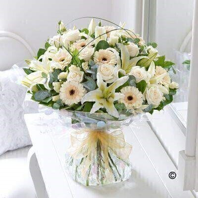 Extra Large Cream Exquisite Hand-Tied: Booker Flowers and Gifts