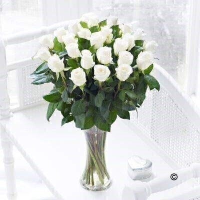 Extra Large Elegant White Rose Vase: Booker Flowers and Gifts