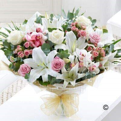 Extra Large Orchid Lily and Rose Hand-tied: Booker Flowers and Gifts