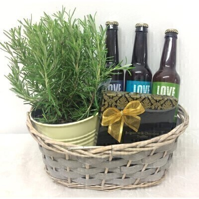 Father Day Rosemary Plant Chocolats and Craft Beer Basket: Booker Flowers and Gifts
