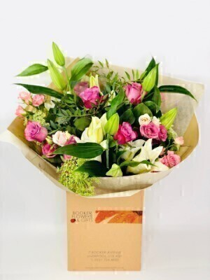 Flamingo Frills Pink Hand Tied Extra Large: Booker Flowers and Gifts