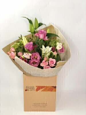 Flamingo Frills Pink Hand Tied: Booker Flowers and Gifts