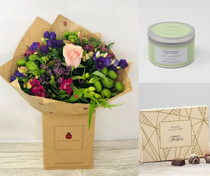 Beautiful Flowers Chocolates and Scented Candle