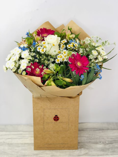 Forget Me Not and Gerbera Summer Bouquet: Booker Flowers and Gifts