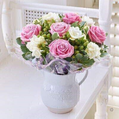Fragrant Rose and Freesia Jug - Pink and White: Booker Flowers and Gifts