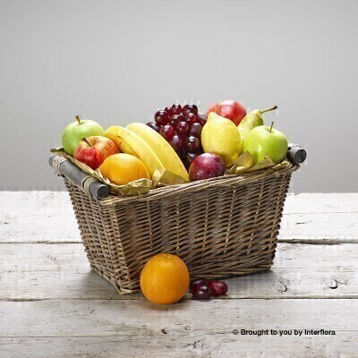 This generous selection of delicious fresh fruit is presented in an open willow basket. A classic gift for any occasion this selection of fine fruits is sure to raise a smile.<br><br>To ensure your gift is of the highest quality contents may vary seasonally.