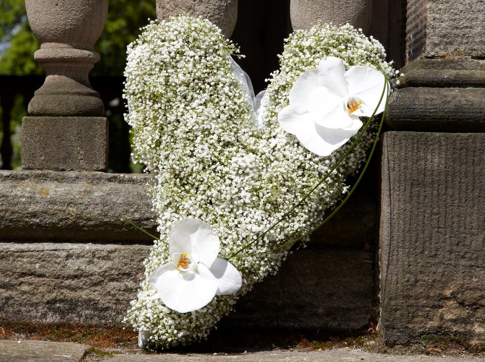 Modern Heart-Shaped Design with White Orchids | Funeral Flowers