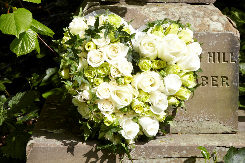 Petite Heart-Shaped Design with White Roses | Funeral Flowers