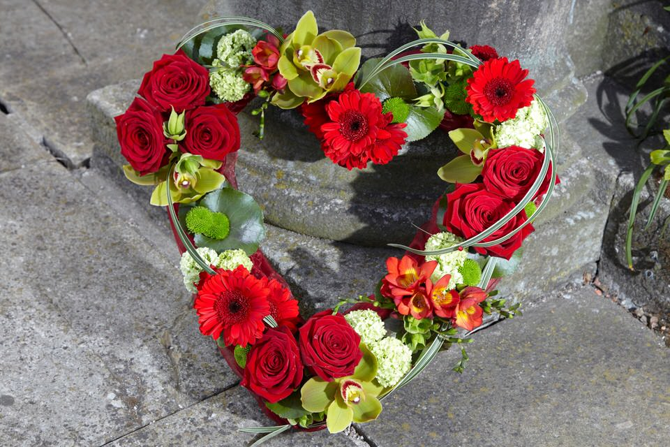 Open Heart-Shaped Design in Red and Green | Funeral Flowers