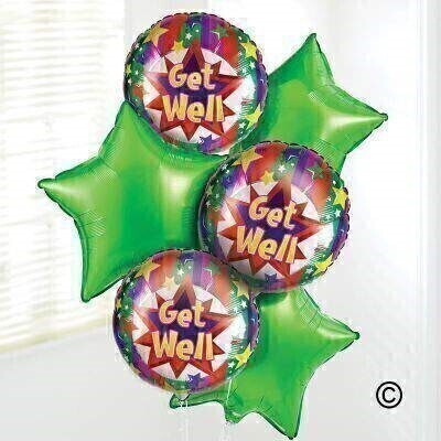 Send your get well wishes with our Get Well Soon Balloon Bouquet. Including three green star-shaped balloons and three cheerful 'Get Well Soon' balloons - this helium balloon bouquet is sure to brighten their day.