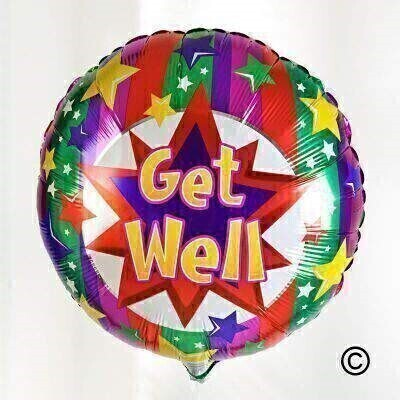 You will certainly cheer someone up with this brightly coloured andlsquo;Get Wellandrsquo; worded balloon. This helium-filled balloon will be tied with ribbon to match and delivered with a balloon weight.