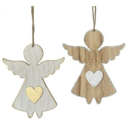 Gold or Silver Wooden Hanging Angel: Booker Flowers and Gifts