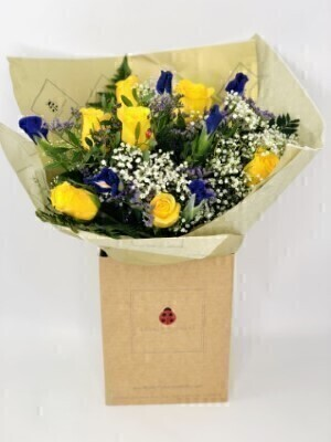 Large Rose and Iris Bouquet of Flowers