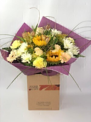 Golden Sunflower and Rose Bouquet: Booker Flowers and Gifts