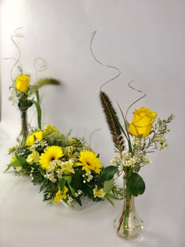 Golden Wedding Table Flowers Set of 3: Booker Flowers and Gifts