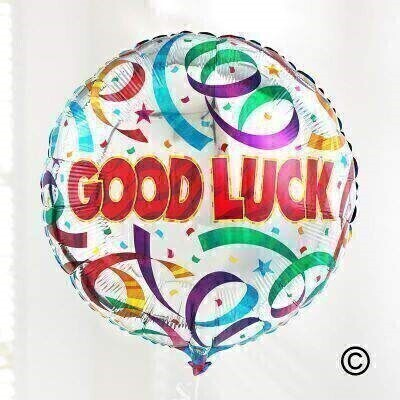 Wish them good luck and show them youandrsquo;re thinking of them with this celebratory balloon in shiny silver and bright rainbow colours.The 45cm micro-foil balloon arrives filled with helium and tied to a weight with curling ribbon.