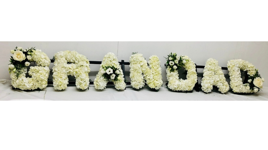 GRANDAD White Funeral Letters | Funeral Flowers
