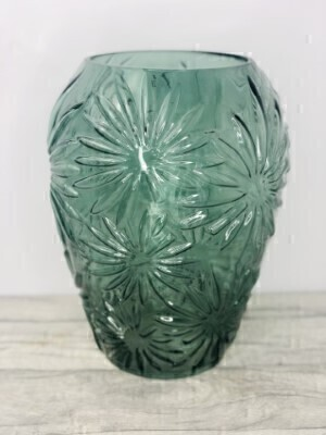 Green Daisy Embossed Large Glass Vase: Booker Flowers and Gifts