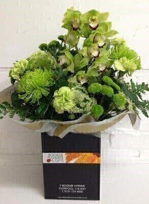Green Flower Hand Tied Bouquet: Booker Flowers and Gifts