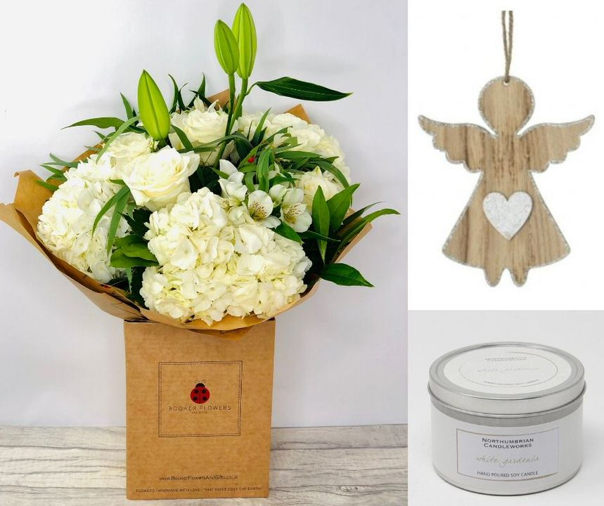Guardian Angel Flowers and Gift Set: Booker Flowers and Gifts