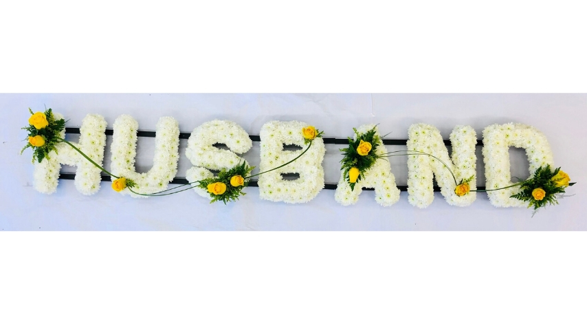HUSBAND White Funeral Letters | Funeral Flowers