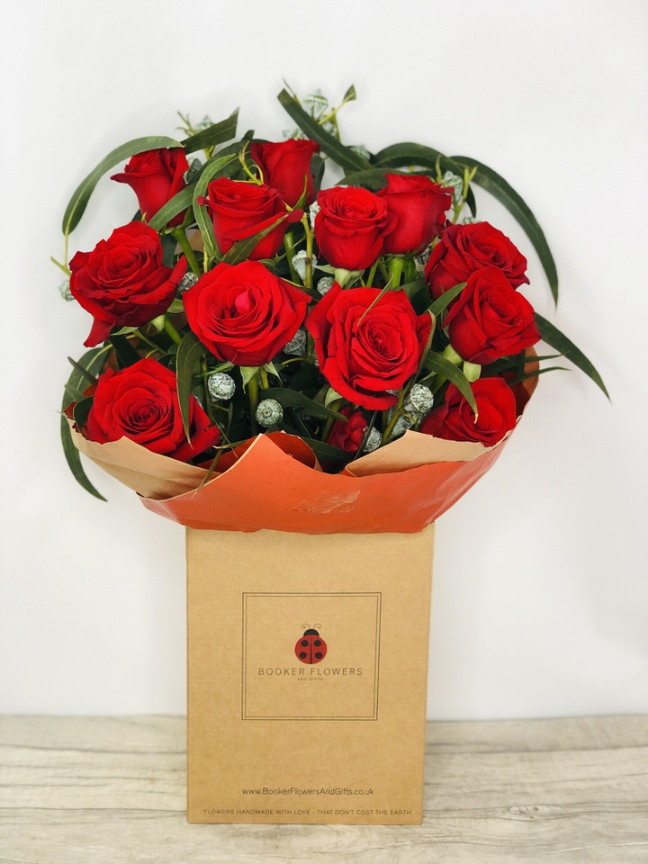 Happy Anniversary 12 Red Roses Handtied: Booker Flowers and Gifts