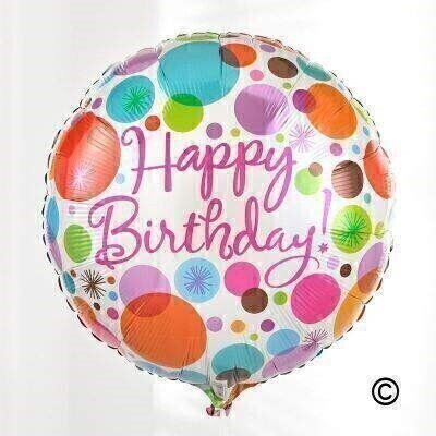 Send your birthday wishes with a wonderful fun round-shaped balloon. This brightly coloured helium-filled balloon features a andlsquo;Happy Birthdayandrsquo; message and will be tied with ribbon to match and delivered with a balloon weight.