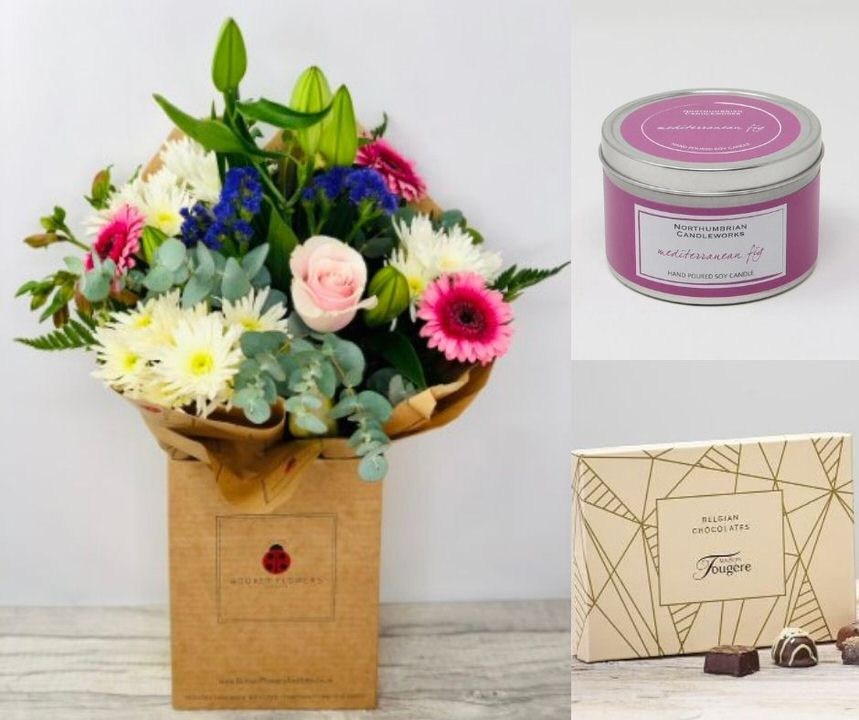 Happy Birthday Flowers Candle and Chocolates: Booker Flowers and Gifts