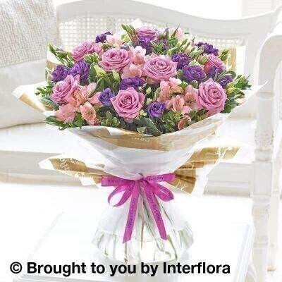 Happy Birthday Lilac Rose and Alstromeria Hand Tied - Extra Large: Booker Flowers and Gifts