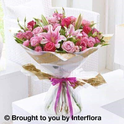 Happy Birthday Pink Lily  Rose and Lisianthus Hand Tied: Booker Flowers and Gifts