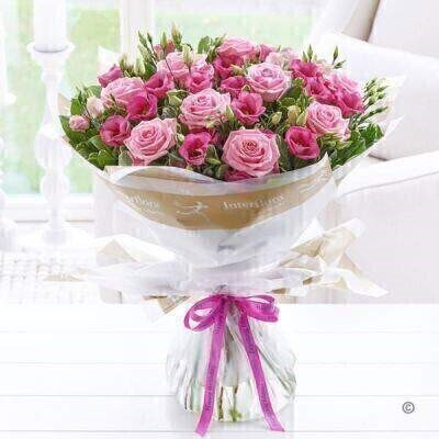 Happy Birthday Pink Lisianthus and Rose Hand Tied - LARGE: Booker Flowers and Gifts