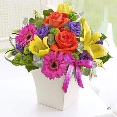 Happy Birthday Vibrant Exquisite Arrangement: Booker Flowers and Gifts