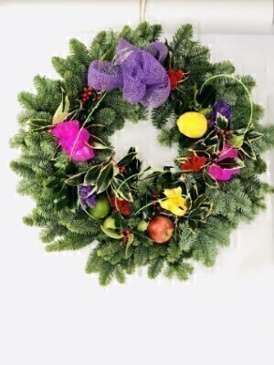 Harlequin Christmas Door Wreath Large: Booker Flowers and Gifts