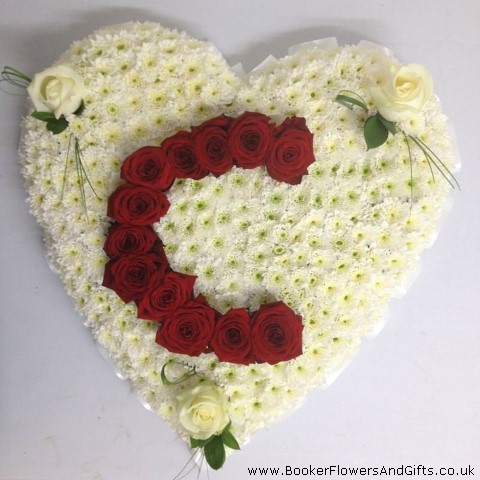 Heart Personalised With Initial Funeral Flowers: Booker Flowers and Gifts