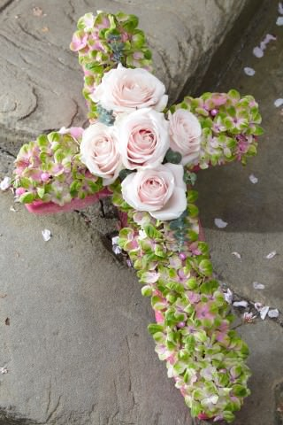 Hydrangea Cross-Shaped Design with Roses | Funeral Flowers