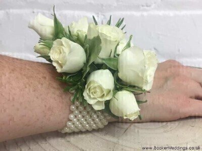 White Flower Wrist Corsage - Flowers on a Bracelet