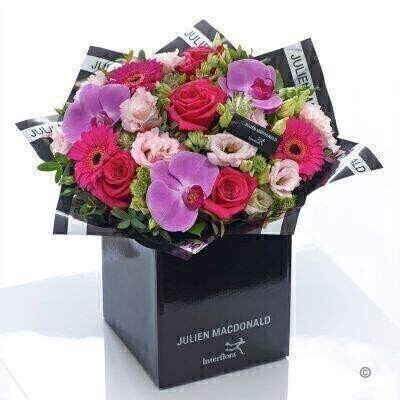 Julien Macdonald Exotic Orchid  Germini and Rose Hand-tied: Booker Flowers and Gifts