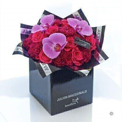 Julien Macdonald Happiness Orchid and Rose Hand-tied: Booker Flowers and Gifts